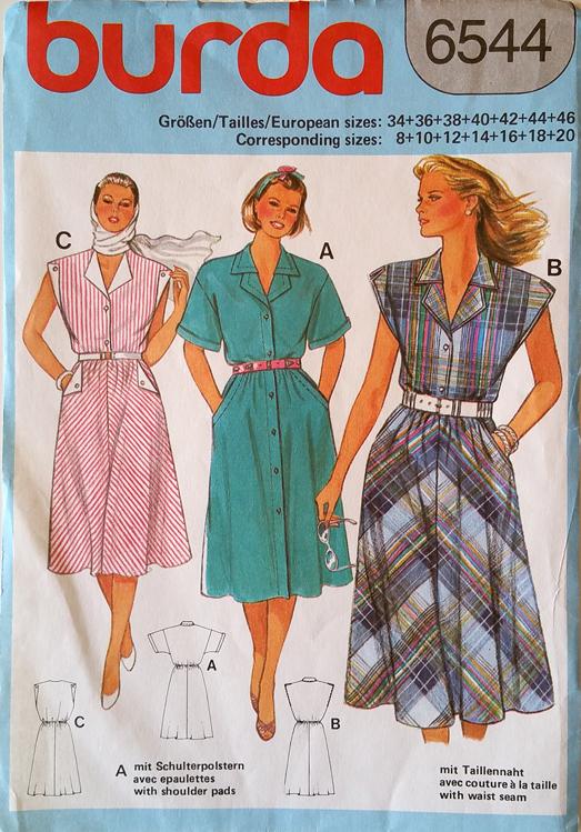 Burda-6544-front-vintage-wikia. Burda 6544  ca. 1985  Dress . 2873a818fb4