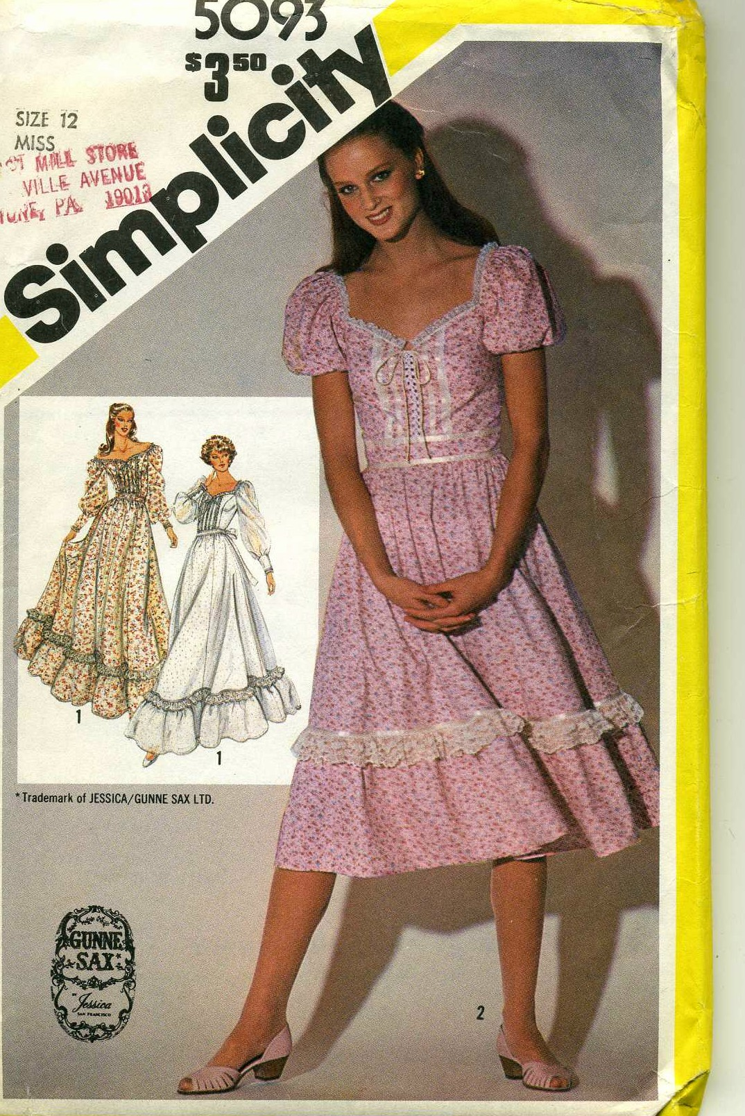 Simplicity 5093 1981 Gunne Sax By Jessica Mcclintock Misses Ed Dress In Two Lengths Long Length V 1 And Regular 2 With Lace Ribbon