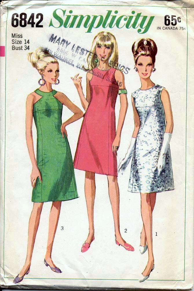 Simplicity 6842; 1966; Misses' One-Piece Dress: The sleeveless and  collarless dress with side front and side back seams has lined yoke, back  zipper and ...