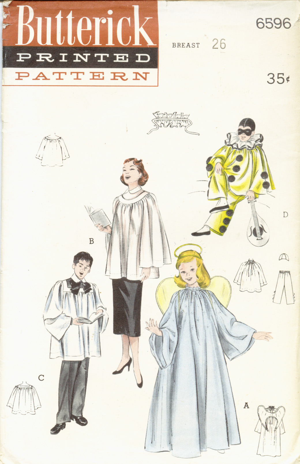 Butterick 6596 vintage sewing patterns fandom powered by wikia butterick 6596 sewing patterns angel clown costumes and choir robes pattern set for girls or boys copyright 1953 reprinted 1959 60 jeuxipadfo Gallery