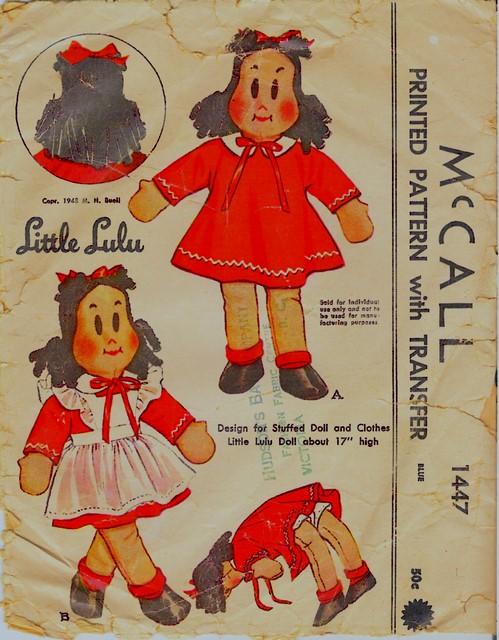 "Little Lulu RAG DOLL /& Wardrobe Pattern # 1447 17/"" high"