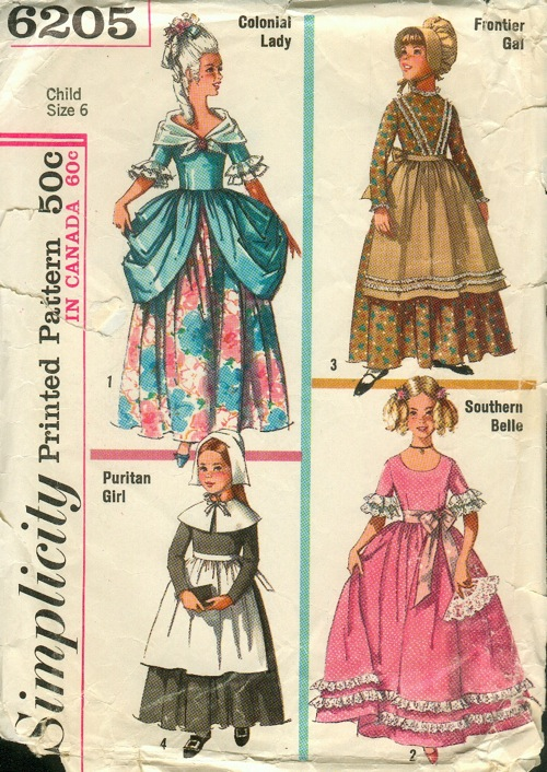 Simplicity 6205; ©1965; Childu0027s and Girlsu0027 Colonial Puritan Southern Belle and Frontier Costumes Collarless ankle-length dress with gathered skirt has ... & Simplicity 6205   Vintage Sewing Patterns   FANDOM powered by Wikia