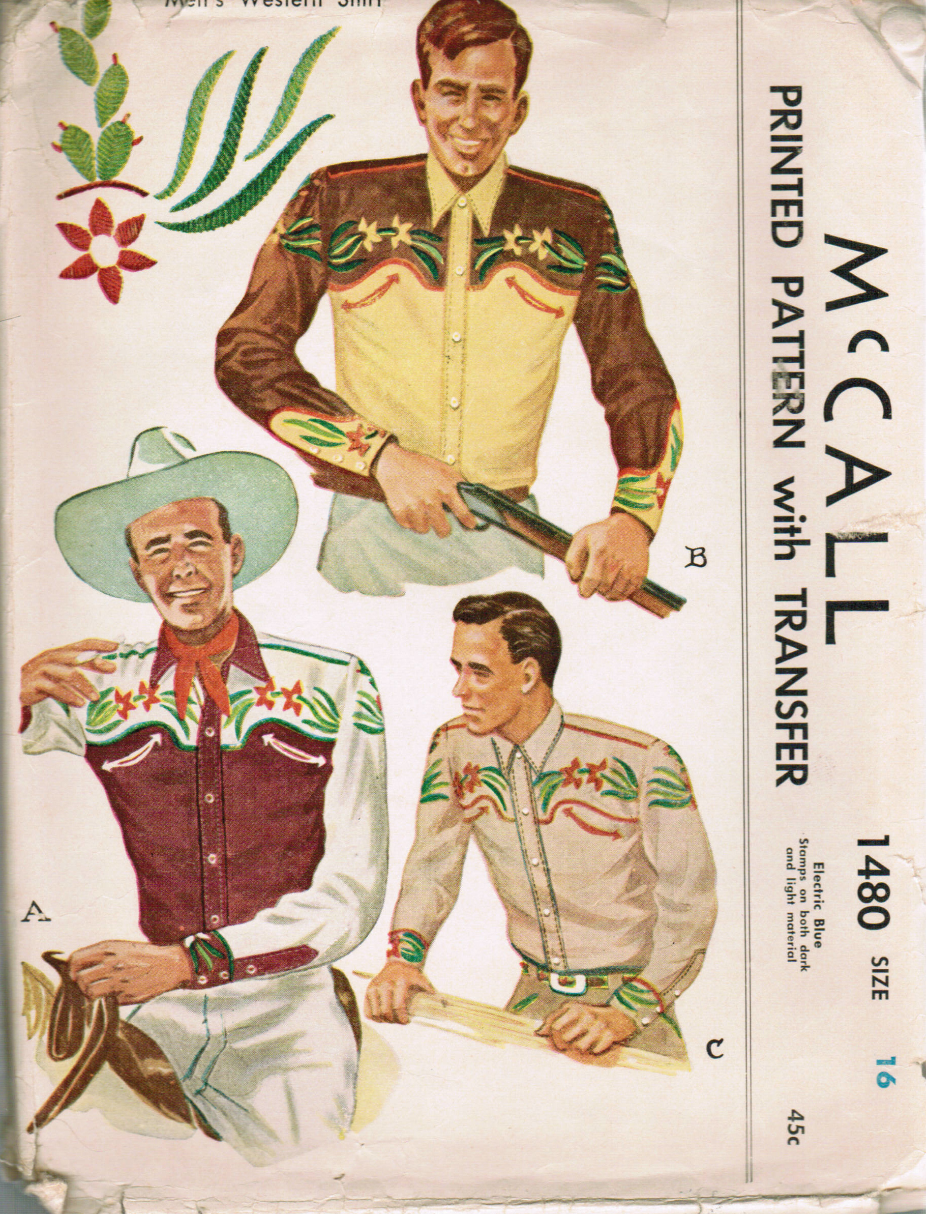 Mccall 1480 vintage sewing patterns fandom powered by wikia mccall 1480 1949 mens western shirt jeuxipadfo Images