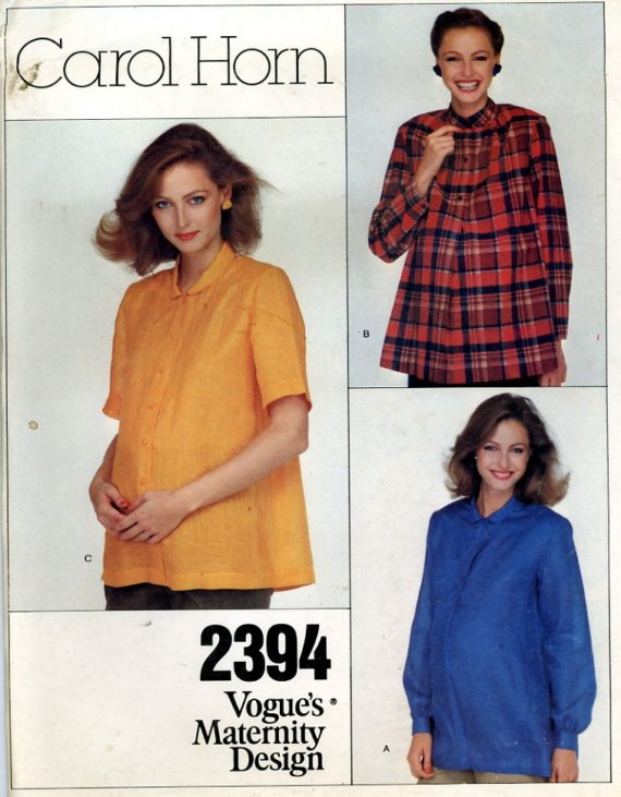5aac317351f8f 1980; Carol Horn - Misses' Maternity Top. Loose-fitting, below hip-length  top. View A: pullover, has shaped collar, buttoned shaped band closing, ...