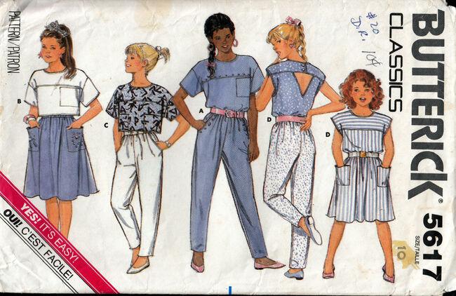 Vintage Butterick 5617 girls top pants skirt 1980s at Penelope Rose at Artfire