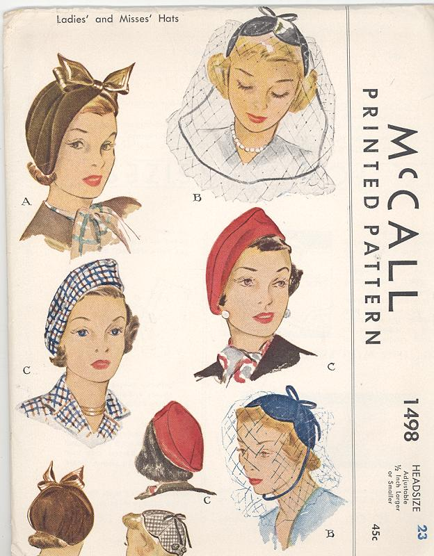 Image - 1949 McCall Hat Pattern 1498.jpg | Vintage Sewing Patterns ...