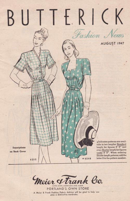 Butterick Fashion News August 1947