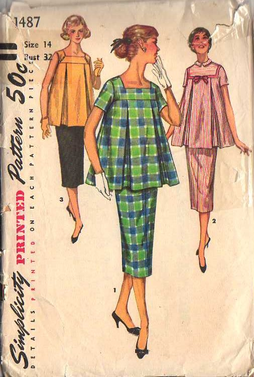 a2545981175 Simplicity 1487  (c) 1956  TWO-PIECE MATERNITY DRESS IN JUNIOR MISSES  AND  MISSES  SIZES  This charming fashion for the mother-to-be features a slim  skirt ...