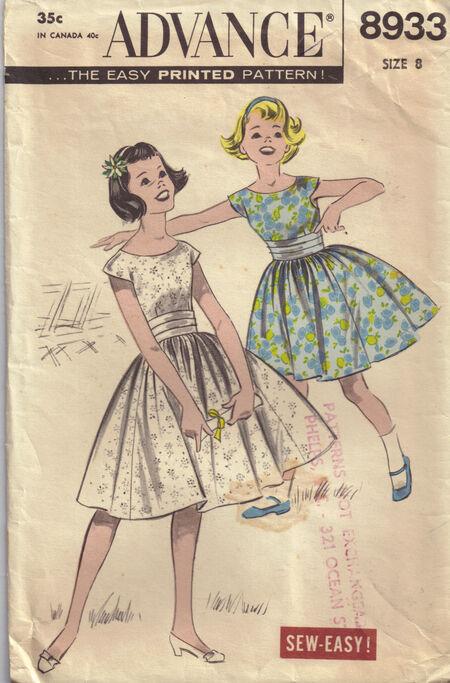 Advance 8933 size 8 girls dress