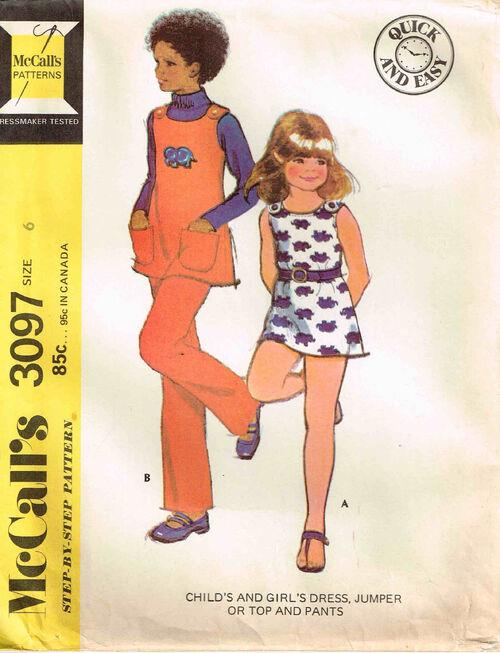 C1972 3097 McCalls Dress Jumper Girls 6