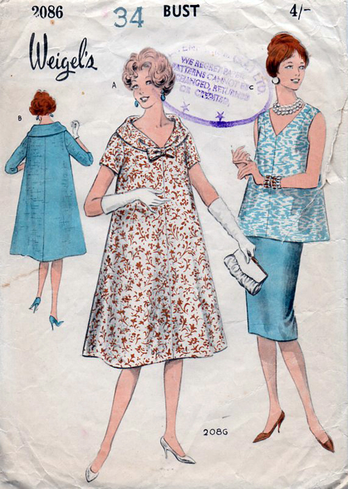 85b0a913ffd Weigel s 2086  circa 1950s  Easy-to-make maternity dress.