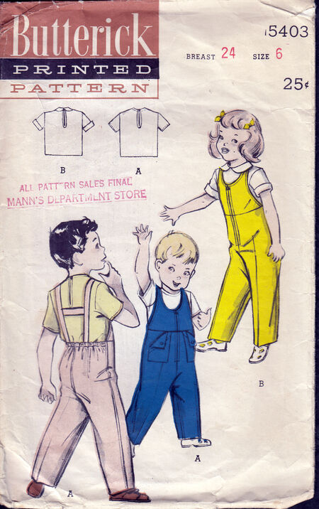 Vintage 50's Butterick 5403 Children's bib-overall and blouse at Penelope Rose at Artfire