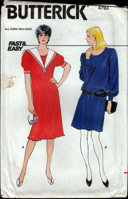 Vintage 1980s Butterick 4793 fast and easy dress Penelope Rose at Artfire