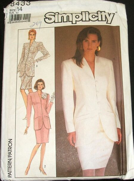Simplicity Pattern 8433 Misses Semi-Fitted Suit With Lined Jacket Womens Size 14 (2)