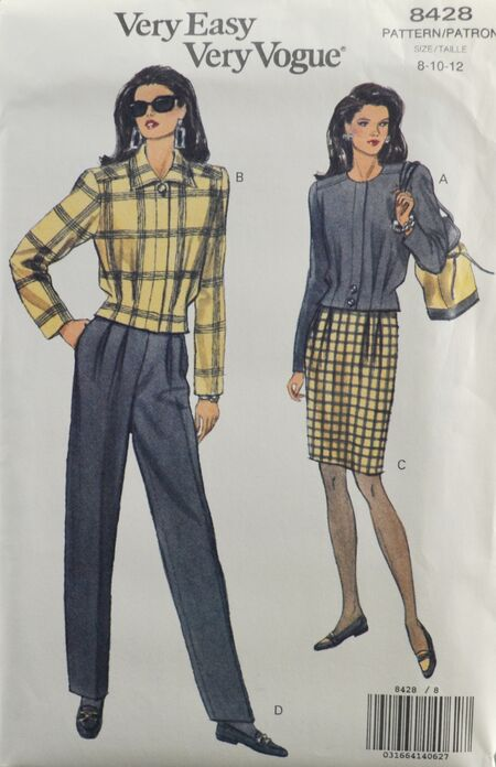 Vogue 8428 Misses' Pants Skirt Jacket Top 1