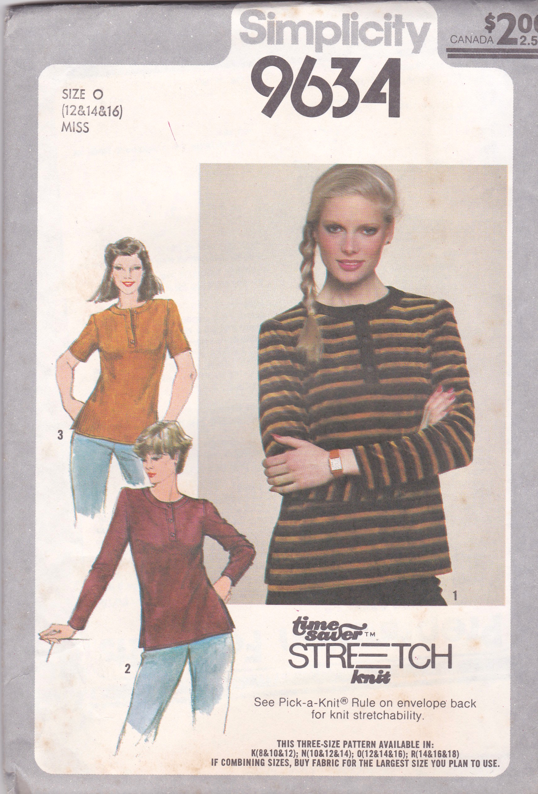 838c0505985 Simplicity 9634  ©1980  Misses  Pullover Top ... A Time-Saver Stretch-Knit  Pattern  Button front top with front and back bands has top-stitched side  slits.