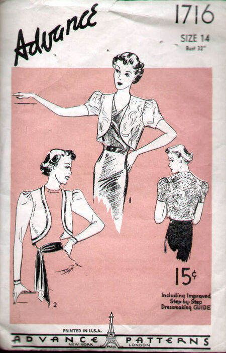 Advance 1716 Vintage 1930's Puff Sleeve Bolero Pattern B32 image