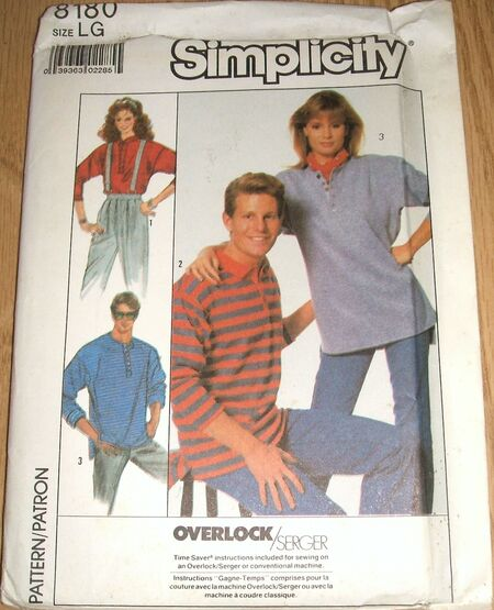 Simplicity Pattern 8180 Misses Mens Or Teen Boys Knit Top (2)