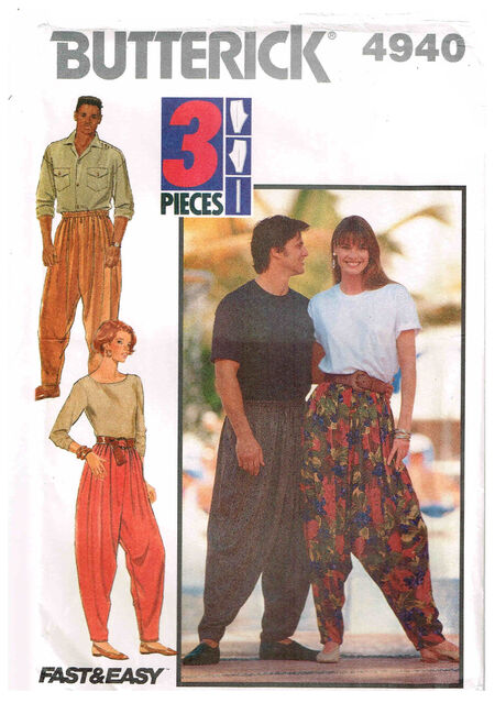 C1990 4940 a Butterick Dropcrotch pants