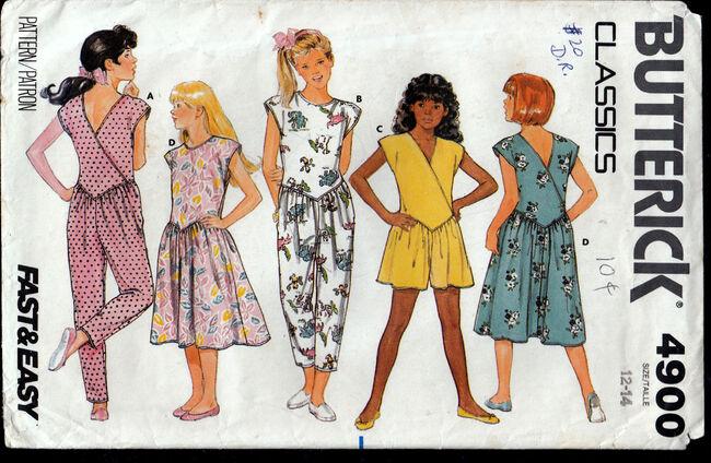 Vintage 1980s Butterick 4900 Girls jumsuit dress Penelope Rose at Artfire