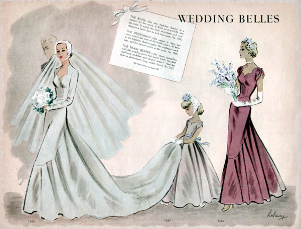 McCall 7500 1949 Wedding Belles dress patterns