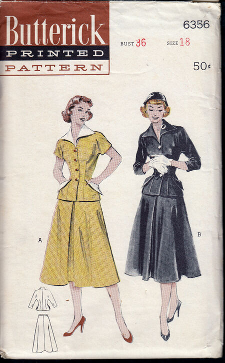 Vintage 6356 two piece dress wing collar 1950s at Penelope Rose at Artfire