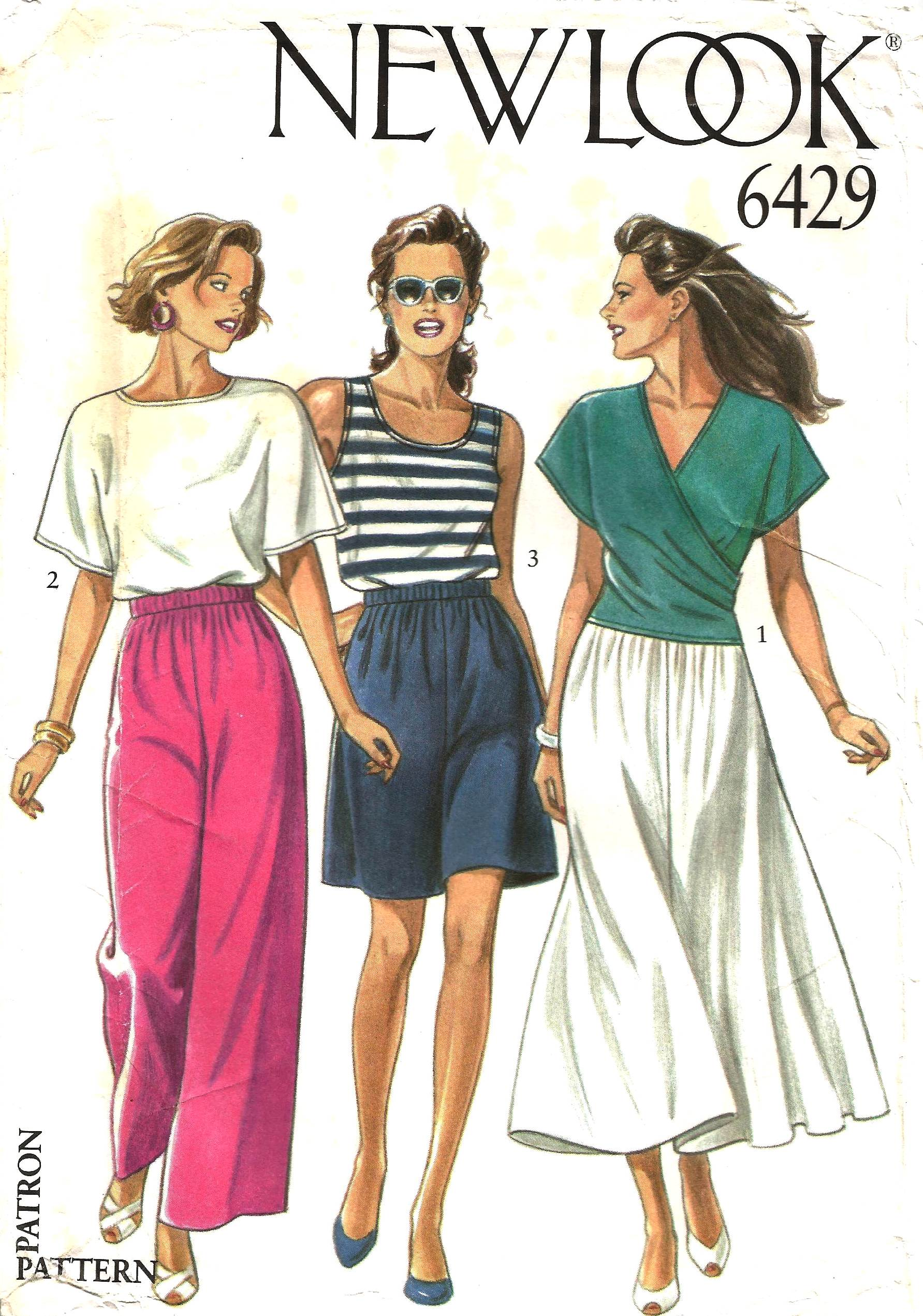 New look 6429 vintage sewing patterns fandom powered by wikia new look 6429 ca mid to late 1980s misses tops skirt pants and shorts tops have neckline and sleeve variations view 1 mock wrap top jeuxipadfo Choice Image