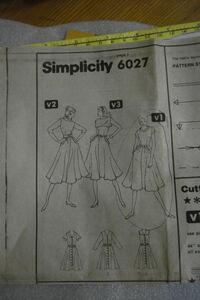 Simplicity 6027 year 1983 inside sleeve