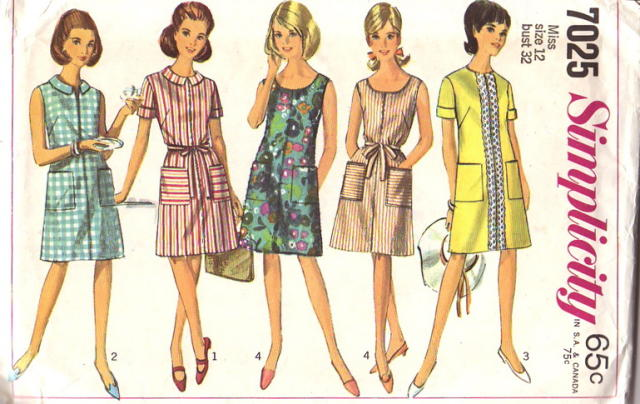 Simplicity 7025; 1967; Misses' One Piece Dress with Two Necklines: The  A-line dress with front zipper has pockets and optional tie belt.