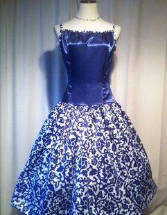 Butterick 7754 sapphire blue satin cocktail dress