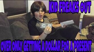 KID FREAKS OUT OVER ONLY GETTING A DOLLAR FOR A PRESENT!!!
