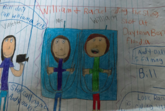Drawing of William riding the slingshot with a fan