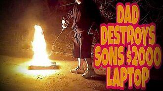 DAD DESTROYS SON'S $2,000 LAPTOP!!! (Prank)