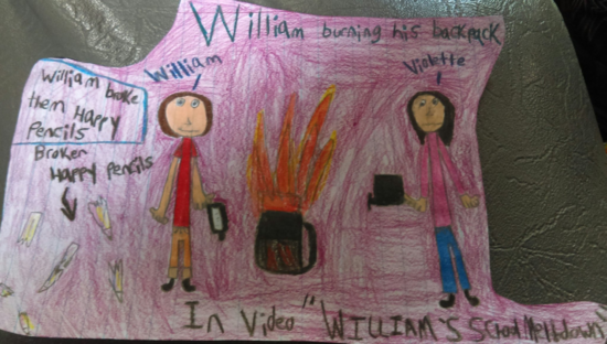 Drawing of William burning his book bag