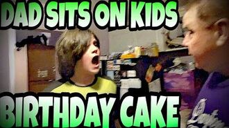 DAD SITS ON KID'S BIRTHDAY CAKE!!!