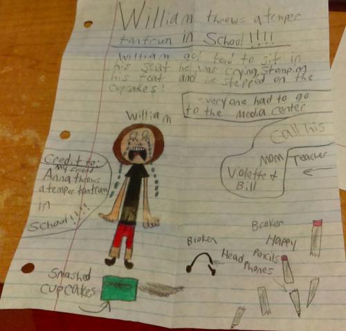 William throws tantrum in school credits to Anna Evans