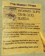 Worker Slips on Blood; Bleeds
