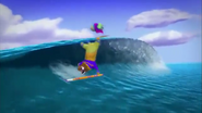 Flex Fudgehog And Franklin Fizzlybear Riding A Wave