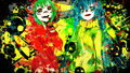 Vocaloid , Hatsune Miku , green eyes , green hair , twintails , hoodies , Megpoid Gumi , aqua eyes , aqua hair , anime girls , Matryoshka.jpg