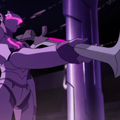 Galra drone soldier offering a sword to doomed prisoners about to enter the arena.