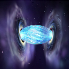 Headquarters is located between two black holes and a blue giant.