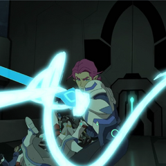 Allura's bayard used as a grappling weapon.
