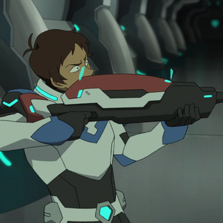 Lance's rifle evolved slightly when formed with the red bayard instead of the blue.