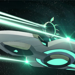 Trayling and Hira's ship firing at an escaping Voltron.