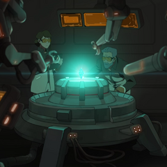 Garrison scientists studying the crystal from Sam's pod.