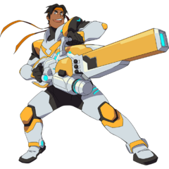 Hunk in his Paladin Armor, wielding his energy cannon