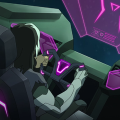 Shiro at controls of a Galran escape pod.