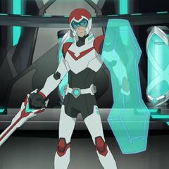 Keith's Bayard sword plus the arm shield built into his armor.