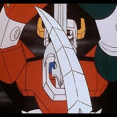 The Demon's sword passes harmlessly before Voltron's blazing one.