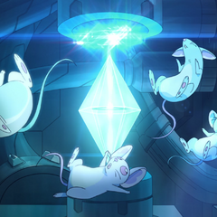 The Mice realign the crystal powering the Castle's particle barrier.